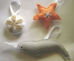 Whimsical Hand made Ocean Animals  Ornament Set by unpetitelapin, $18.00
