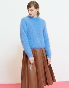 LE CIEL BLEU アンゴラニットプルオーバー/フェイクレザープリーツスカート