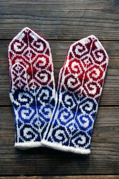Colorful Mittens-Wool mittens-Red Blue White Mittens-Fall accesories-Knitted Gloves-Boho Accesories  nO 32.