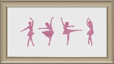 Four Ballet Dancers Cross Stitch Pattern PDF Instant Knit Patterns, Color Patterns, Embroidery Patterns, Cross Stitch Designs, Cross Stitch Patterns, Cross Stitching, Cross Stitch Embroidery, Hobbies And Crafts, Ballet Dancers