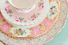 Pastel vintage china dishes to coordinate w my cp/saucers, these are my royal albert ones !