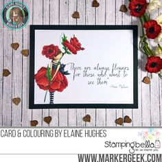 Stamping Bella Tiny Townie Garden Girl Poppy rubber stamp Card. Click through for full details and a colouring video!
