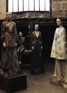 Valentino Haute Couture photographed by Deborah Turbeville    The dress on the left is the one Anne Hathaway wore to the NYC Ballet Gala on the 21st