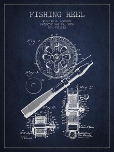 Fishing Reel Patent From 1906 - Navy Blue Drawing