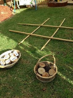 Tic tac toe -Use natural materials like rocks and wood slices as your x