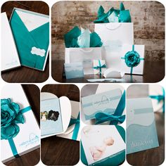 Photography Packaging, Photography Branding, teal, blue, boutique packaging