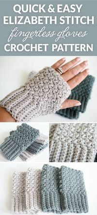 This Easy Elizabeth Stitch Fingerless Gloves Crochet pattern - quick to crochet and they are the perfect accessory to complete any outfit. This Easy Elizabeth Stitch Fingerless Gloves Crochet pattern - quick to crochet and they are the perfect access Crochet Diy, Beau Crochet, Bonnet Crochet, Crochet Simple, Crochet Crafts, Crochet Ideas, Easy Things To Crochet, Free Easy Crochet Patterns, Quick Crochet Gifts