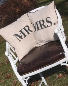"""Make your own Mr. & Mrs. pillows! So doing this!! It would be cute if you made another little one in between that said """"&""""."""