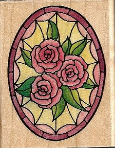 Stained Glass Rose Oval Rubber Stamp