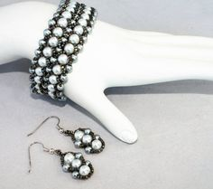 NEW Double Row Silver Glass Pearl Flat Spiral by MarmeliDesigns