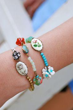 Bohemian string beaded bracelets