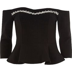 Black pearl trim bardot top
