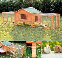 Deluxe Large Wooden Rabbit Hutch Chicken Coop Pen House Pet Habitat Double Run