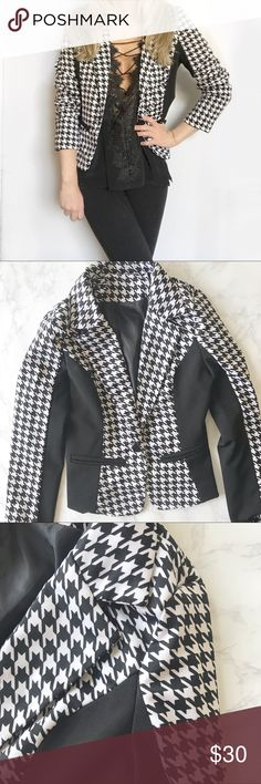 Black and White Blazer This black and white blazer is so cute for the office or to wear as a light jacket this spring and summer! It has a very flattering cut. I like to wear it with the sleeves pushed up with an all black outfit.   💜Make An Offer! 💜 Jackets & Coats Blazers