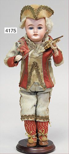 """""""Stürzenschläger"""", semi-automatic machine, biscuit porcelain socket head, mark in the neck 70.20.5, intact, fix inset blue glass eyes, opened mouth, line of upper teeth, wooden hands, fabric body, old clothes, 32 cm tall"""