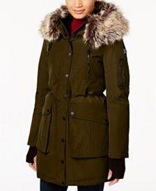 Faux-Fur Trimmed Hooded Womens Coats - Macy's