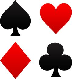 Free clip art of red and black playing card suits - spades, hearts, diamonds, clubs
