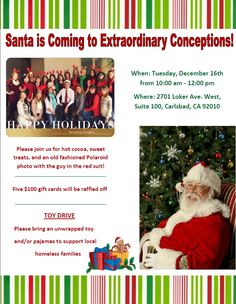 Santa is coming to EC Town! Please join us!