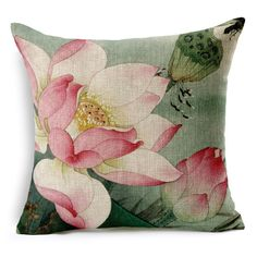 Monkeysell Lotus Leaf Butterfly Flowers Pattern Cotton Linen Throw Pillow Case Cushion Cover Home Sofa Decorative 18 X 18 Inch brbrThe beautiful item provides stylish surface to your device./b brbrThe feature of products: /b br Lotus Painting, Fabric Painting, Ink Painting, Throw Pillow Cases, Decorative Throw Pillows, Cover Pillow, Painted Bags, Hand Painted, Sofa Cushion Covers
