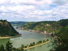Blick von der Loreley auf den Rhein Richtung St. Goarshausen