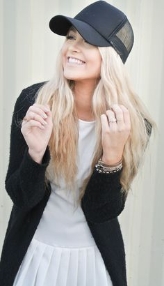 This ball cap with hair down. Chic and casual. CARA LOREN: Caps