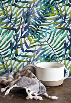 Tropical Watercolor Leaves Pattern Removable by WallfloraShop