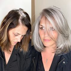 ❤❤❤ AB // peut être 🤔 This beautiful client came to me from Las Vegas with hair that had multi different light and dark brassy colors, she was seeking gray… Long Gray Hair, Silver Grey Hair, Dark Hair, Grey Hair Dye, Grey Blonde Hair, Hair Color Gray Silver, Grey Hair At 40, Grey Hair Dark Roots, Grey Hair Colors