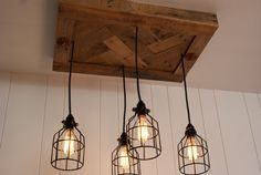 Upcycled Wood Chandelier with Cage lighting by Bornagainwoodworks, $410.00