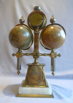 Desk compendium with two rotating terrestrial & celestial globes, thermometer, barometer & compass - Gavin Douglas Antiques