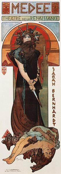 Alphonse Mucha - Médée, Plakat für Sarah Bernhardt und das Théatre de la Renaissance