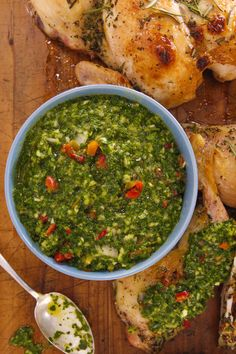 Parsley chimichurri with garlic and hot cherry peppers!