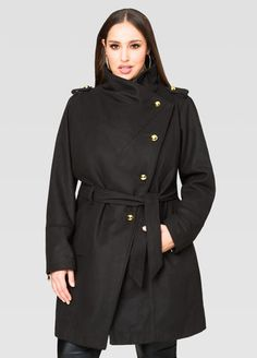 Wool Blend Drape Neck Trench Coat