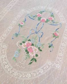 "Romantic Antique French Silk Basket of Pink Roses Filet Lace Coverlet 107"" x 80"" 