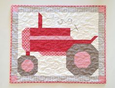 Carried Away Quilting: Farm Girl Vintage Sew Along: A Tractor for Dad Farm Quilt Patterns, Pattern Blocks, Applique Patterns, Applique Quilts, Vintage Quilts, Vintage Sewing, Quilting Projects, Sewing Projects, Quilting Ideas