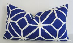 TRINA TURK / Trellis Marine Blue LUMBAR Pillow Cover / 12 x 20 / Marine / Indoor/Outdoor / Designer Fabric / Decorative Pillow via Etsy