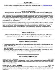 Rig Manager Resume Sample
