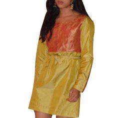 Shubrah, Henna Green Leaf Kurta Dress