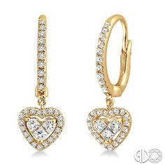 5/8 Ctw Princess and Round Cut Diamond Heart Earrings in 14K Yellow Gold