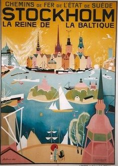 #vintage travel posters, Sweden  # We cover the world over 220 countries, 26 languages and 120 currencies Hotel and Flight deals.guarantee the best price multicityworldtravel.com