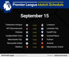 Manchester City, Manchester United, Afc Bournemouth, Match Schedule, Huddersfield Town, Cardiff City, Premier League Matches, Fulham, Watford