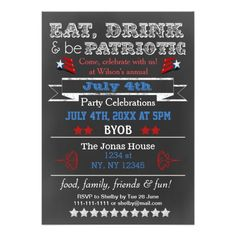 """Red White Blue Chalkboard July 4th party Invites 5"""" X 7"""" Invitation Card"""