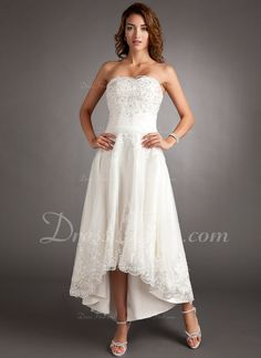 A-Line/Princess Sweetheart Asymmetrical Tulle Wedding Dress With Lace Beading (002011546)