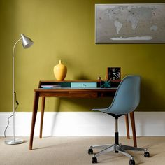Yellow walls and dark wood Scandi desk for your home office. More creative spaces and share your own at #EtsyDeskie