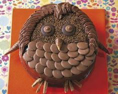 Decorate a basic round chocolate cake with chocolate buttons and other chocolate confectionery that can be bought in any supermarket. Use your imagination to create animal faces. This one is a rather cute owl if I don't say so myself!