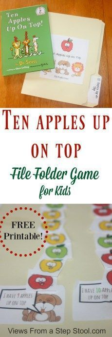Ten Apples Up on Top is a classic Dr. This ten apples up on top file folder game for kids is the great way to combine learning with books. Use the free printable game to practice counting and reading with you kids. BONUS: throw it in you Preschool Apple Theme, Free Preschool, Preschool Crafts, Preschool Activities, Preschool Printables, Preschool Apples, Daycare Crafts, Preschool Learning, Educational Activities