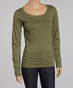 Take a look at this Dusty Olive Scoop Neck Tee by Survival on #zulily today!
