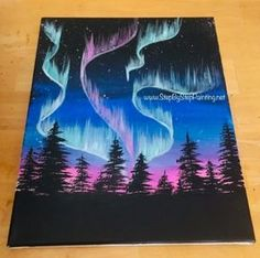 How to paint Aurora Skyline - painting step by step . - How to paint Aurora Skyline – painting step by step paint - Cute Canvas Paintings, Canvas Art, Simple Paintings, Bear Paintings, Diy Painting, Painting & Drawing, Creative Painting Ideas, Easy Canvas Painting, Back Painting