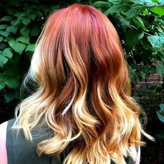 red+hair+with+blonde+ombre+highlights