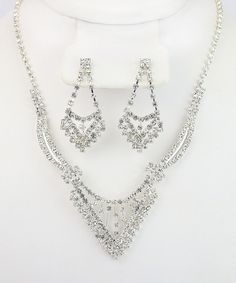 Look what I found on #zulily! Silver & Gem Pointed Necklace & Earrings Set by By the Bay #zulilyfinds