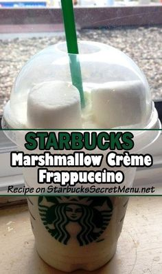 It's just so hard to resist the melt in your mouth sweetness of marshmallows. But you won't have to with this Marshmallow Crème Frappuccino! Starbucks Hacks, Starbucks Secret Menu Drinks, My Starbucks, Frappuccino Recipe, Starbucks Frappuccino, Marshmallow Creme, Coffee Recipes, Fondue Recipes, Drink Recipes